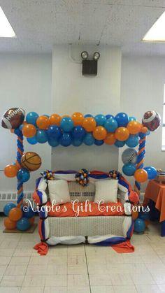 Allstars balloon arch.baby shower. Balloon Arch, Balloons, Dance Games, Sports Decor, Sport Football, All Star, Shower Ideas, Birthdays, Baby Shower