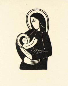 Eric Gill, Madonna and Child, 1919 #art #artist #blackandwhite