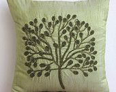 Decorative Throw Pillow Covers Accent Pillows Couch Sofa Toss 16x16 Green Silk Pillow Cover Bead Embroidered Green Tree Home Living Decor