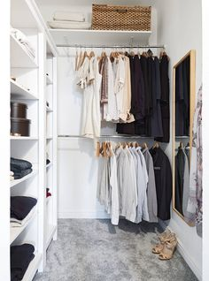 Shelving and Hanging Space with baskets and boxes for extra storage.