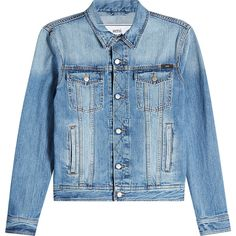 AMI Denim Jacket ($269) ❤ liked on Polyvore featuring outerwear, jackets, white, jean jacket, white jacket, slim fit jackets, ami jacket and denim jacket