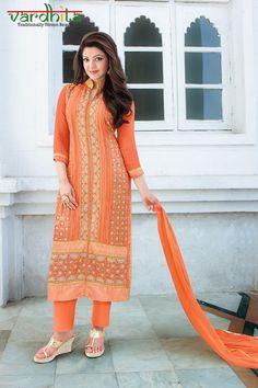 Orange Color Georgette Fabric Salwar Suit
