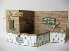 Created by Karen. Craftwork Cards Potting Shed Created by Karen. Craftwork Cards Potting Shed Z Cards, Step Cards, Paper Cards, Kids Cards, Tri Fold Cards, Folded Cards, Bridge Card, Craftwork Cards, Birthday Cards For Men