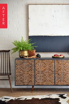 Kristine purchased this beat up bad boy for $5 knowing she could make something out of the mid-century style. After some serious blood, sweat and tears it is now a gorgeous patterned side board that is currently up for auction (in Australia!) and you can check it out here.
