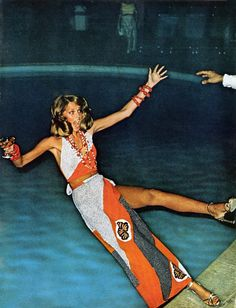 vogue:  Why don't you take one last dip before summer ends?  Cheryl Tiegs, photographed by Helmut Newton, Vogue, January 1973