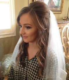 wedding half updo with veil