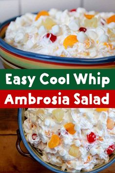 Easy Cool Whip Ambrosia Salad - Resolution Eats This recipe for Cool Whip Ambrosia Fruit Salad is about as quick as they come. If you have 6 minutes and 6 ingredients, you can mix up this simple but super delicious low calorie dessert. Creamy Fruit Salads, Best Fruit Salad, Summer Salads With Fruit, Dessert Salads, Fruit Salad Recipes, Dessert Recipes, Fruit Snacks, Fruit Salad Cool Whip, Fruit Cocktail Salad