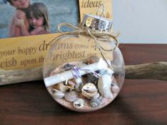 class ornament with sand and shells | Message In A Bottle Ornament - Round - Rustic, Christmas Gift, Holiday ...