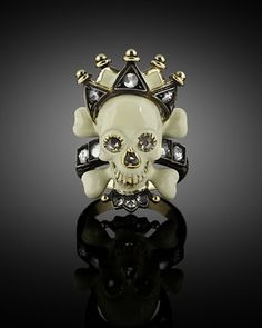 Made by the Italian jeweler Codognato, this intriguing ring features a macabre skull ~ M.S. Rau Antiques