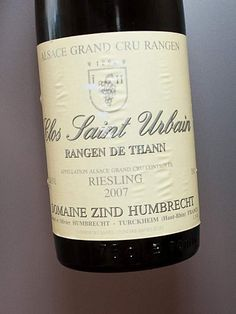 Alsace Grand Cru Rangen de Thann, Clos Saint Urbain Riesling 2007 Domaine Zind-Humbrecht. #DrinkAlsace    There is NOTHING in the world like dry reisling from Alsace.  It could be the most food-friendly white in the world.