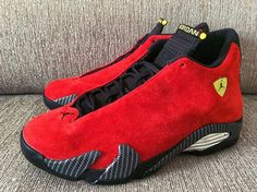 7e03664aecb169 Authentic Air Jordan 14 XIV Red Suede Ferrari http   www.perfectsneakers.