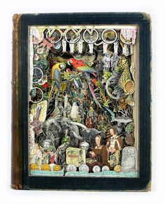 Alexander Korzer-Robinson - 3D collages created using old books, cutting around to expose layers through the book. Each image is in it's original place - the collage effect is achieved through depth.