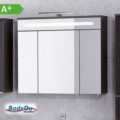 NEU! Der überarbeitete fackelmann Kara Spiegelschrank anthrazit, jetzt mit LED-Beleuchtung mit 3 Türen und 80cm Breite, Art. Nr.: 80960