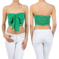 74666c3627 CROP TOP GREEN BOW CHIFFON STRAPLESS TUBE SWEETHEART SUMMER SHIRT NEW SEXY  Belly Shirts