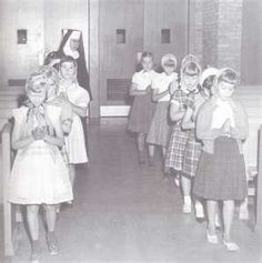 Catholic school - going to church. If you didn't have a veil, you used a Kleenex.