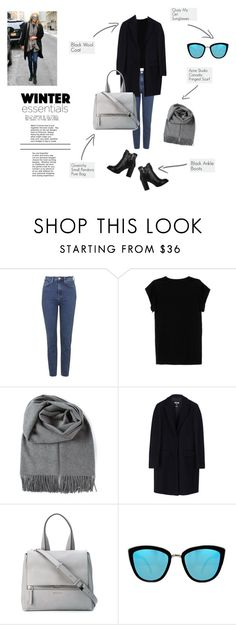 """Winter Staples"" by blissrosies ❤ liked on Polyvore featuring Topshop, Isabel Marant, Acne Studios, MSGM, Givenchy, Quay, Boots, scarf, coat and winterstaples"