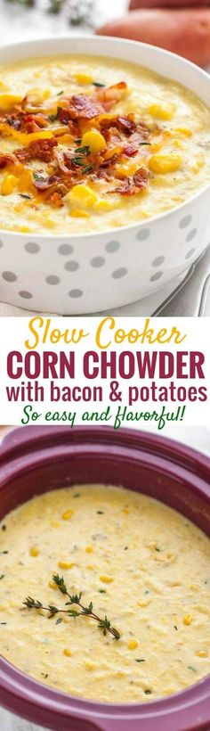 Slow Cooker Corn Chowder is so easy to make and takes just a few minutes of prep! A creamy and flavorful potato corn chowder made in the Crockpot that's full of crispy bacon bits, sweet corn, and buttery red potatoes. It's the perfect soup for cold wintery weather that your whole family will love! #CrockPotRecipes #slowcooker #bacon #cornchowder #potatoes #soupseason #ComfortFood