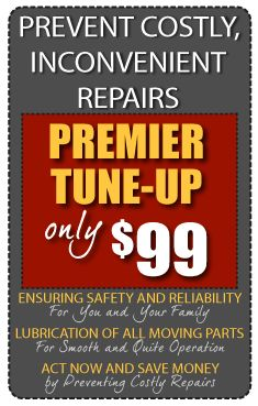 Premier Garage Door Tune-Up only $99  Annual maintenance avoids costly garage door repairs.  Get a tune-up today!