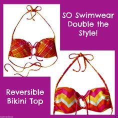 SO Reversible Halter Bikini Top Multi Neon Colors Striped/Zigzag  - Sz XS $28 #SO #HalterBikiniTop  - May 31, 2014 - $10.99