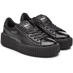 FENTY Puma by Rihanna Patent Leather Creeper Sneakers (€149) ❤ liked on Polyvore featuring shoes, sneakers, black, sport shoes, sports trainer, black shoes, black sport shoes and creeper sneakers