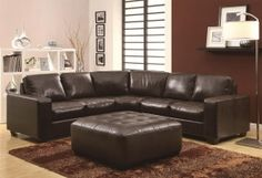 503441 Howard Sectional Sofa with Track Arms, Bonded Leather Match and Exposed Wood Accent Legs in Dark Brown