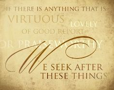 We seek after these things