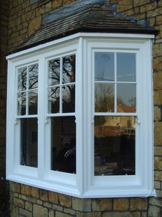 Box Bay Window Windows that project from the house and that have a square shape with 90 degree angles at the corners. Upvc Windows, Dormer Windows, Sash Windows, House Windows, Windows And Doors, Bay Window Exterior, Bay Window Shutters, Window Seats, Style At Home
