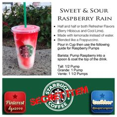 CONTAINS This is my personalized twist on the Sweet & Sour Lime Refresher. The Raspberry Rain adds a visually beautiful & tasty element to this awesome drink! Starbucks Secret Menu Items, Starbucks Holiday Drinks, Starbucks Hacks, Healthy Starbucks Drinks, Starbucks Secret Menu Drinks, Starbucks Refreshers, Starbucks Coffee, Starbucks Cookies, Starbucks Order