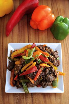 Adobo Peppered Steak - fresh and flavorful. Use coconut aminos and skirt steak, and saute in a nonstick skillet (no oil) for this easy stir-fry.