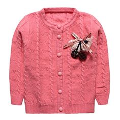 Baby Girls Hemp Flowers Pattern Cashmere Cardigan Sweater Deep Pink Size 24M *** You can get more details by clicking on the image. (This is an affiliate link)