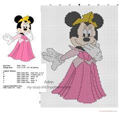 Disney Minnie as Princess Aurora free cross stitch pattern