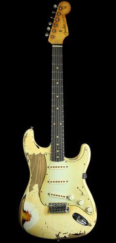 1961 Stratocaster Relic Olympic White 3 Tone Sunburst Master built John Cruz. (Wow.. you really described it)