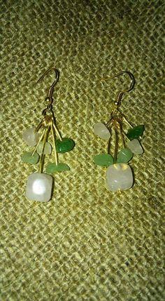 Handmade gold plated rose quartz and aventurine earrings https://m.facebook.com/LaceOfHeartsJewellery
