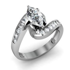 Marquise Cut Swirl Diamond Engagement Ring