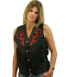 Biker Babe Tassled Flower Leather Vest
