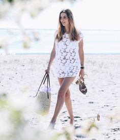 lace dress with beach bag