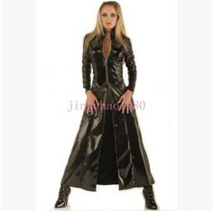 bc51d90f5aae8 Fashion Womens Patent Leather Trench Coat Cosplay Motorcycle Jacket  Nightclub Ch Matrix, Cosplay, Wet