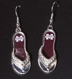 """1.5"""" silver tone flip flop earrings featuring the Mississippi State logo."""