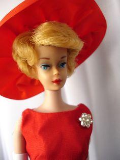 Blonde Barbie Bubblecut (circa 1961-62) in Music Center Matinee (1966-67) & PAK Glamour Hat (1966-67)