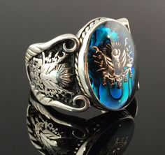 Sterling Silver Sapphire Enamelled Stone Ottoman Men`s Ring -US Seller in Jewelry & Watches, Men's Jewelry, Rings Cheap Mens Rings, Mens Rings For Sale, Rings For Men, Men's Jewelry Rings, Gold Jewelry, Jewelry Watches, Fine Jewelry, Effy Jewelry, Beaded Jewelry