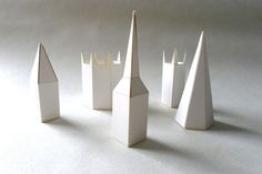 Paper sculpture Church Spires from the River Nene, pack to make 5.