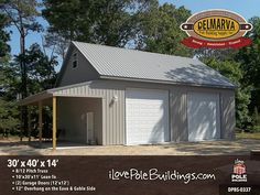 Custom & Ready-To-Go Kits for your residential pole building project. From pole garages to post-frame storage spaces, we do it all! Pole Barn Shop, Pole Barn Garage, Building A Pole Barn, Post Frame Building, Building A Garage, Barn Homes Floor Plans, Pole Barn House Plans, Pole Barn Homes, Garage Plans