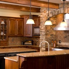 Craftsman Style Kitchen, rock around range