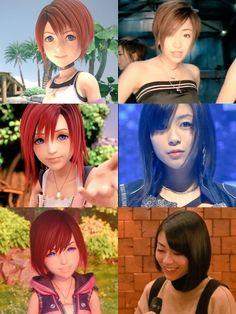 Kairi and Utada Hikaru over the years Kingdom Hearts Funny, Kingdom Hearts Characters, Kingdom Hearts Fanart, Kairi Kingdom Hearts, Final Fantasy, Heart Facts, Sora And Kairi, Kh 3, Kindom Hearts