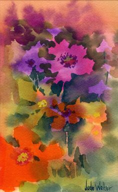 Watercolor of Flowers by Jude Welter.