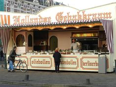 Oliebollenkraam. In December you see them everywhere in the streets. You can buy different kinds of oliebollen and appelflappen here.