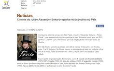 Alexander Sokurov - Poeta Visual. (22 de maio até 16 de junho). Veículo: Cine Web Online. Data: 15/05/2013.