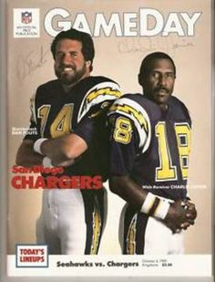 """Dan Fouts and Charlie Joiner were nothing short of incredible together in the """"Air Coryell"""" passing attack. Football Memes, Nfl Football, Football Players, American Football League, National Football League, Nfl Oakland Raiders, Pittsburgh Steelers, Dallas Cowboys, Sports Magazine Covers"""