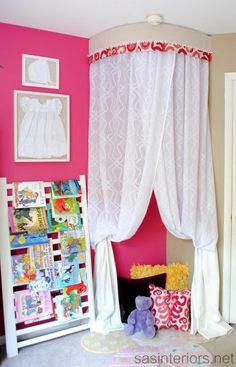 Reading Nook for girls bedroom. Put Christmas lights in it, make it a little bigger and we're set! Perfect way to fill a corner.