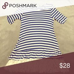 Blue/white striped top with lace S/M available! Super cute long tee with lace Tops Tees - Short Sleeve